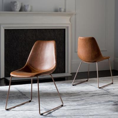 Dorian Light Brown/Copper Leather Dining Chair (Set of 2)