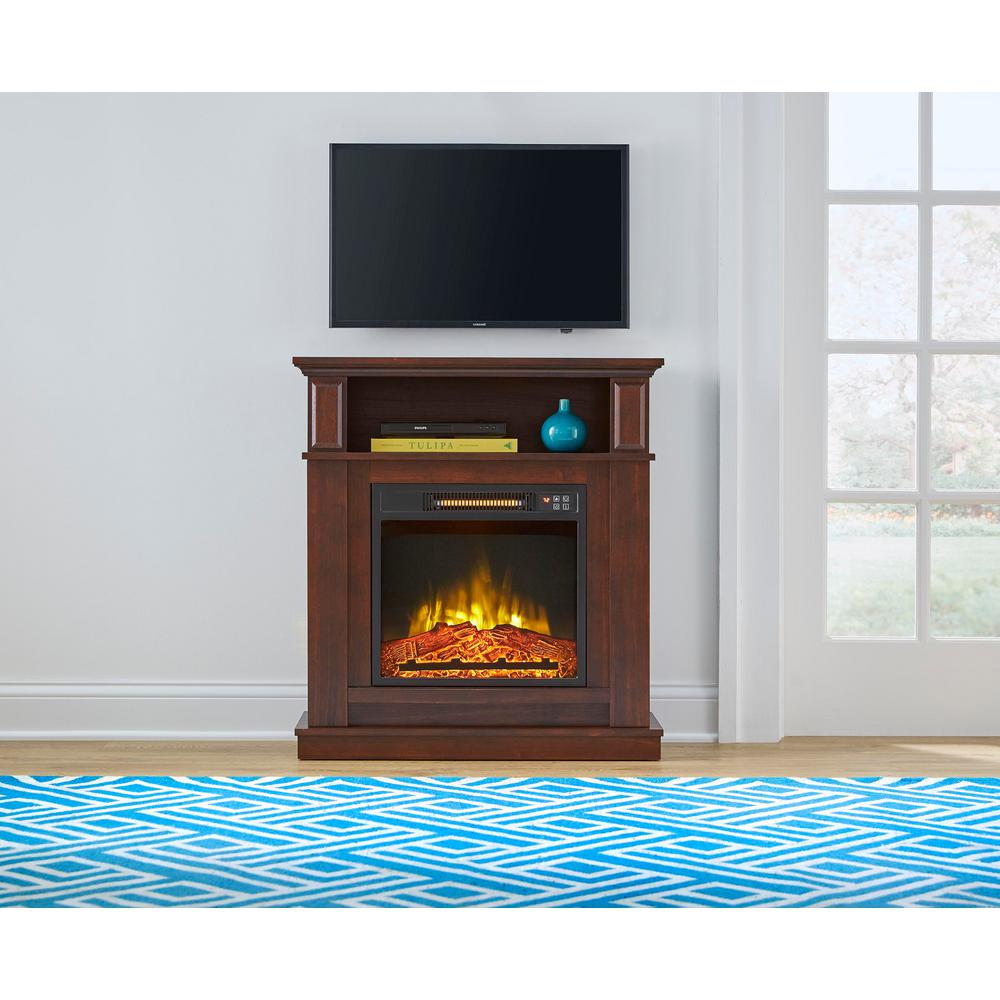 StyleWell Albury 31 in. Freestanding Compact Infrared Electric Fireplace in Cherry
