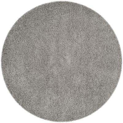 Athens Shag Light Gray 7 ft. x 7 ft. Round Area Rug