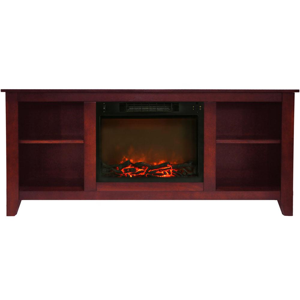 Bel Air 63 in. Electric Fireplace and Entertainment Stand in Cherry