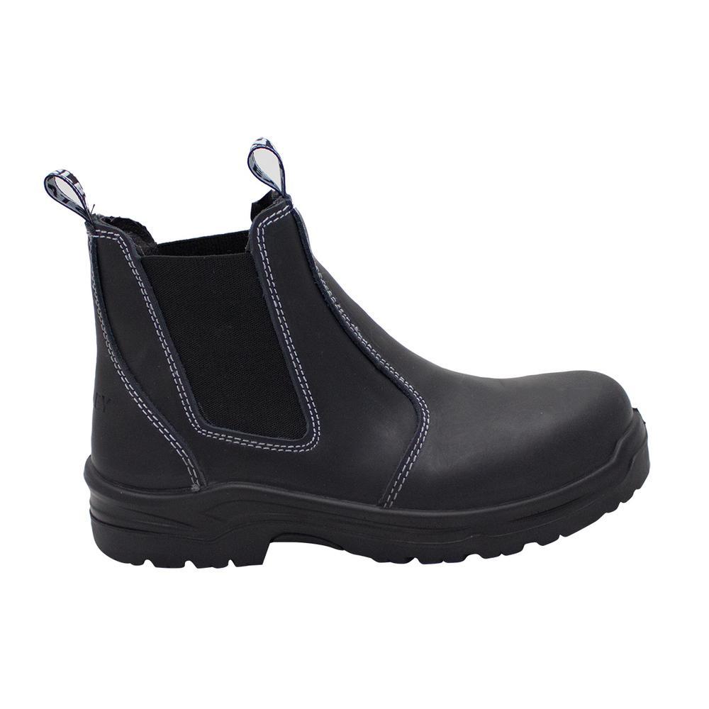 Dredge Women's Size 9.5 Black Leather Steel Toe Chelsea Work Boot