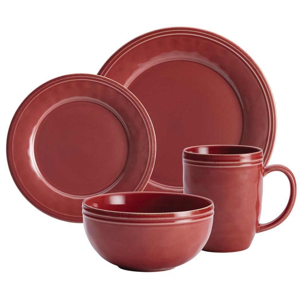 Cucina Dinnerware 16-Piece Stoneware Dinnerware Set in Cranberry Red