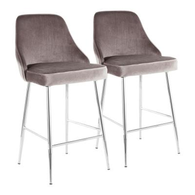 Marcel 25 in. Chrome Metal Counter Stool with Silver Velvet Uphostery (Set of 2)