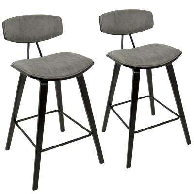 Damato Mid-Century Modern Espresso and Grey Fabric Counter Stool (Set of 2)
