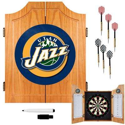 NBA Utah Jazz Wood Finish Dart Cabinet Set