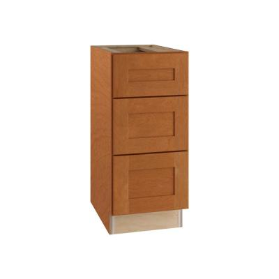 Hargrove Assembled 12x34.5x24 in. Plywood Shaker 3 Drawer Base Kitchen Cabinet Soft Close Drawers in Stained Cinnamon