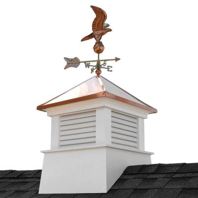 Manchester 30 in. x 30 in. x 64 in. H Square Vinyl Cupola with Eagle Weathervane