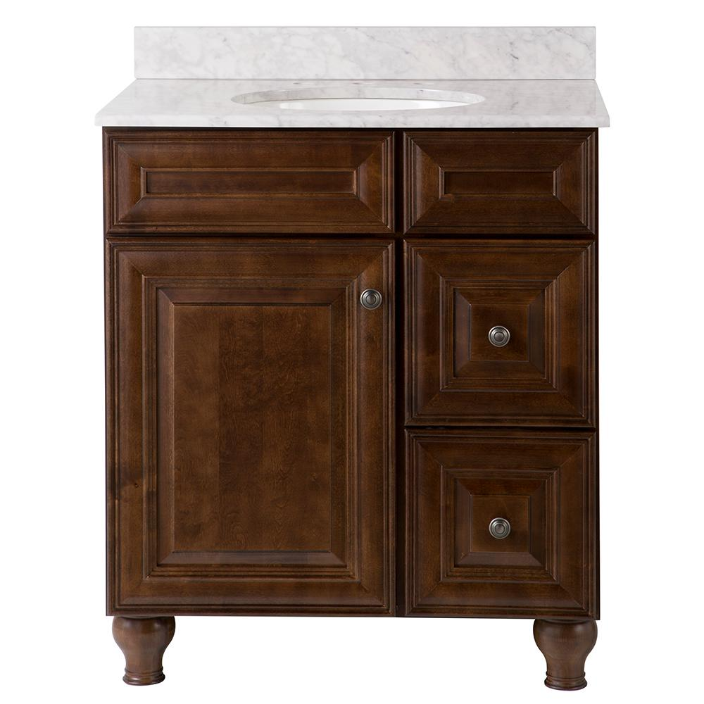 Home Decorators Collection Templin 31 in. W x 22 in. D Vanity in Coffee with Stone Effects ...
