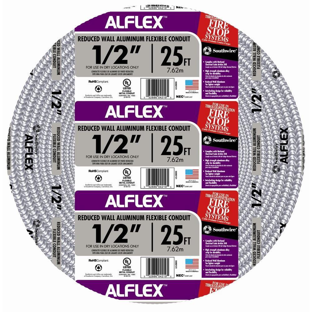 1/2 in. x 25 ft. Alflex RWA Metallic Aluminum Flexible Conduit