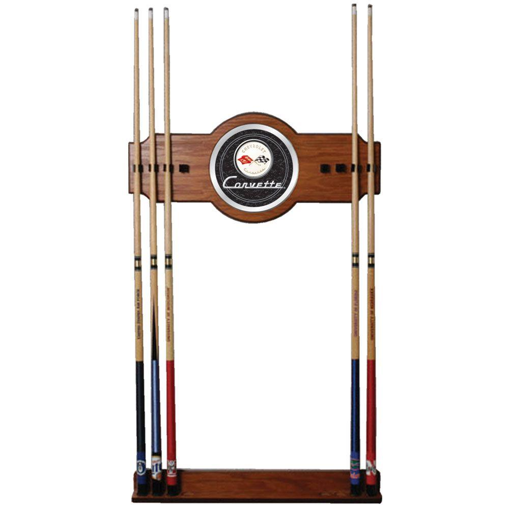 Corvette C1 Black 30 in. Wooden Billiard Cue Rack with Mirror
