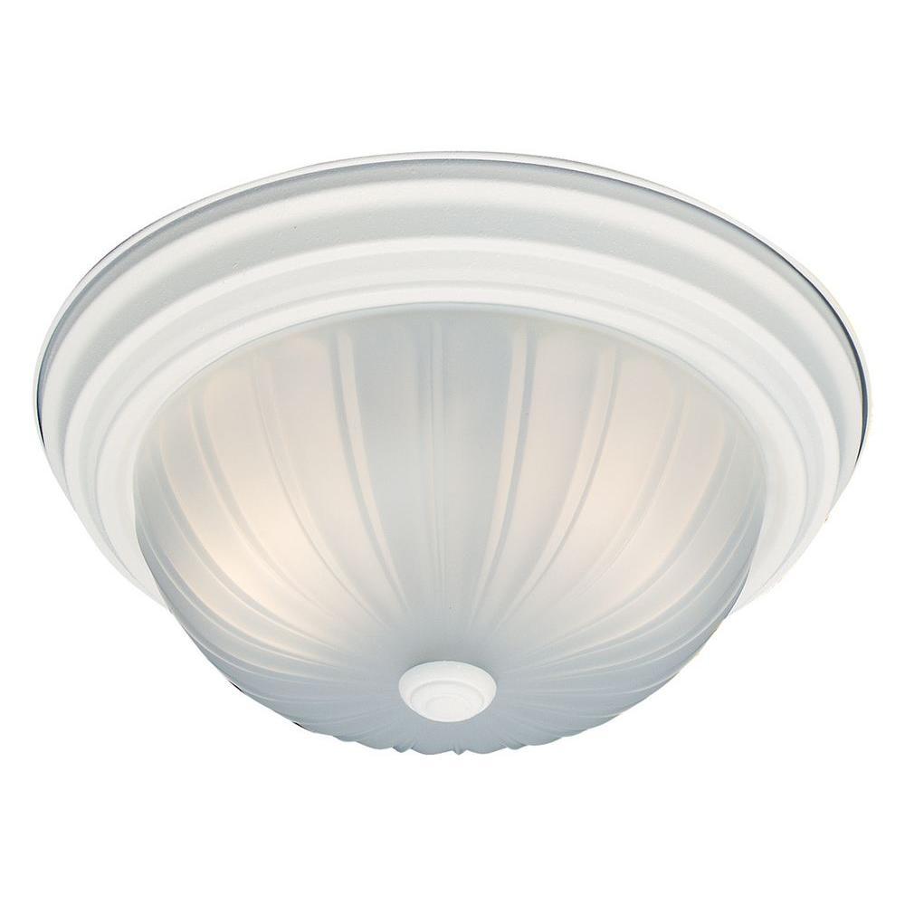 2-Light Textured White Ceiling Flushmount