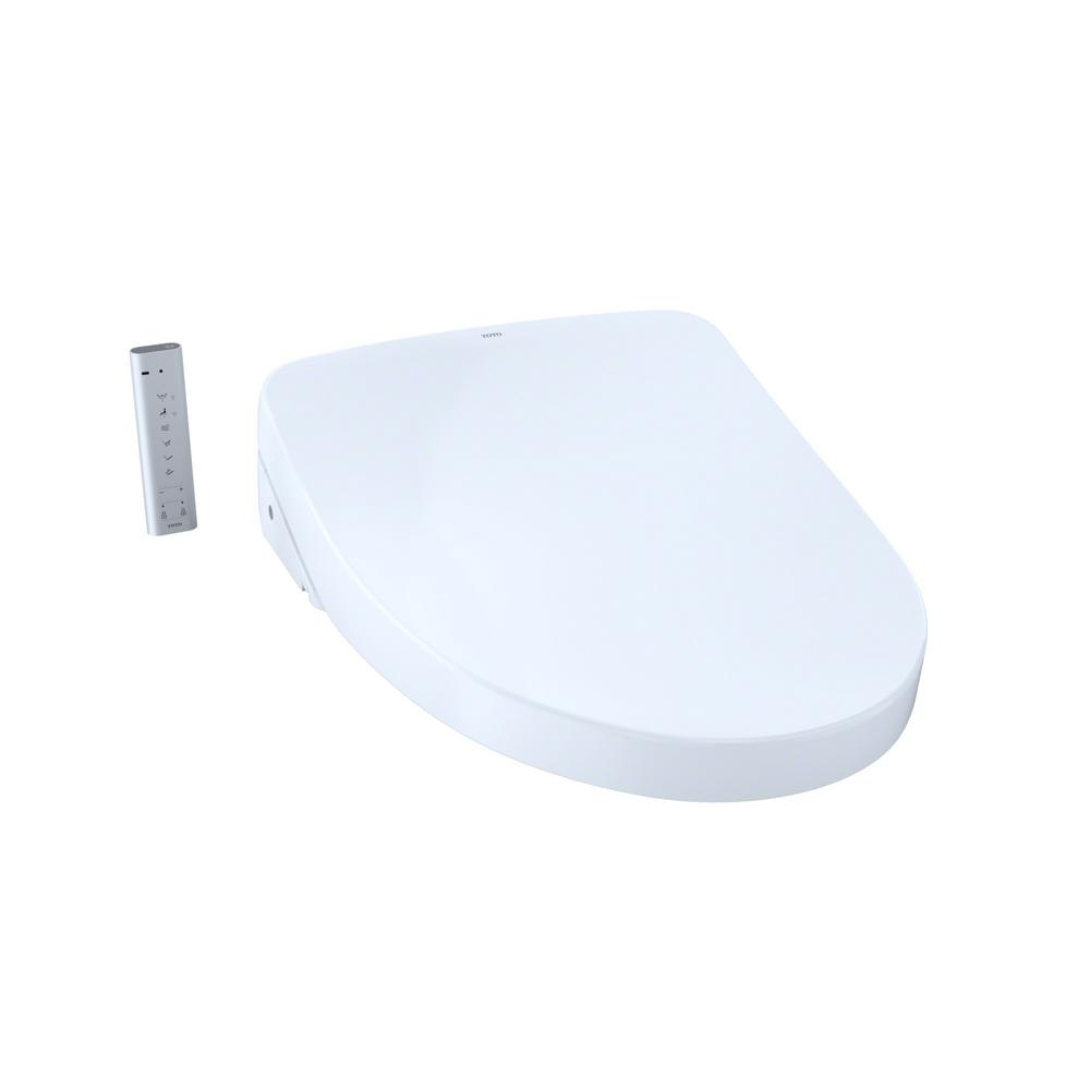 TOTO S500e WASHLET+ Electric Bidet Seat for T40 WASHLET+ Toilet with Contemporary Lid and eWater+ in Cotton White