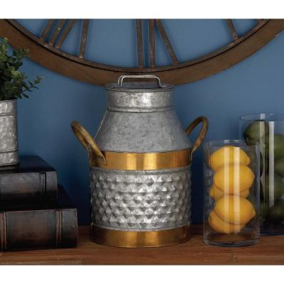 Litton Lane 14 in. Rustic Galvanized Iron Can with Gold-Finished Trims, Grey