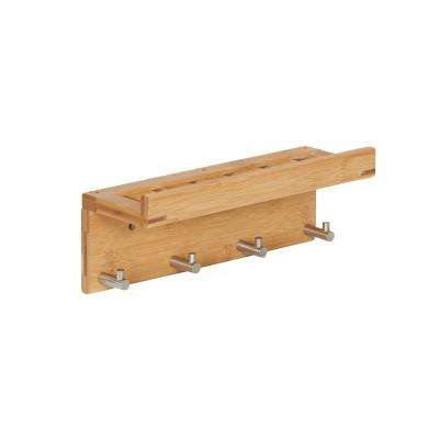 11.81 in. W x 5.31 in. D x 3.94 in. H Square Bamboo Solid Shelf with 4-Hooks