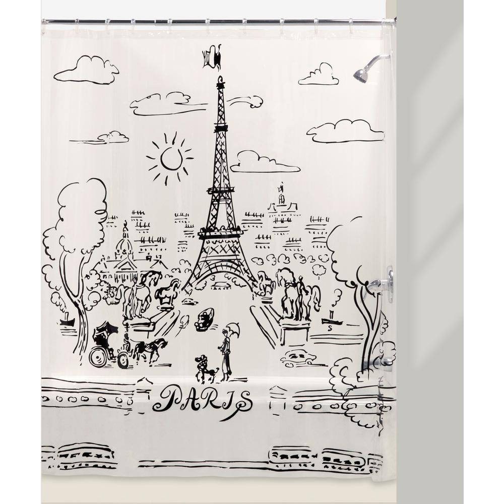 Paris Days 72 In Shower Curtain And Liner Set Black Clear White