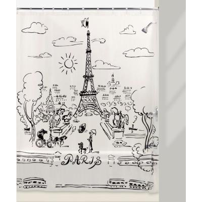 Paris Days 72 in. Shower Curtain and Liner Set in Black/Clear/White