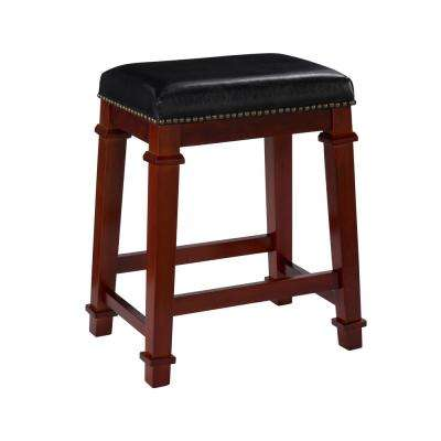 Kennedy 24 in. Dark Cherry Cushioned Bar Stool