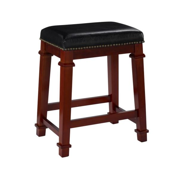 Linon Home Decor Kennedy 24 in. Dark Cherry Cushioned Bar Stool