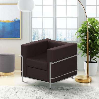 Contemporary Leather Chair with Encasing Frame Upholstery Lounge Chair brown