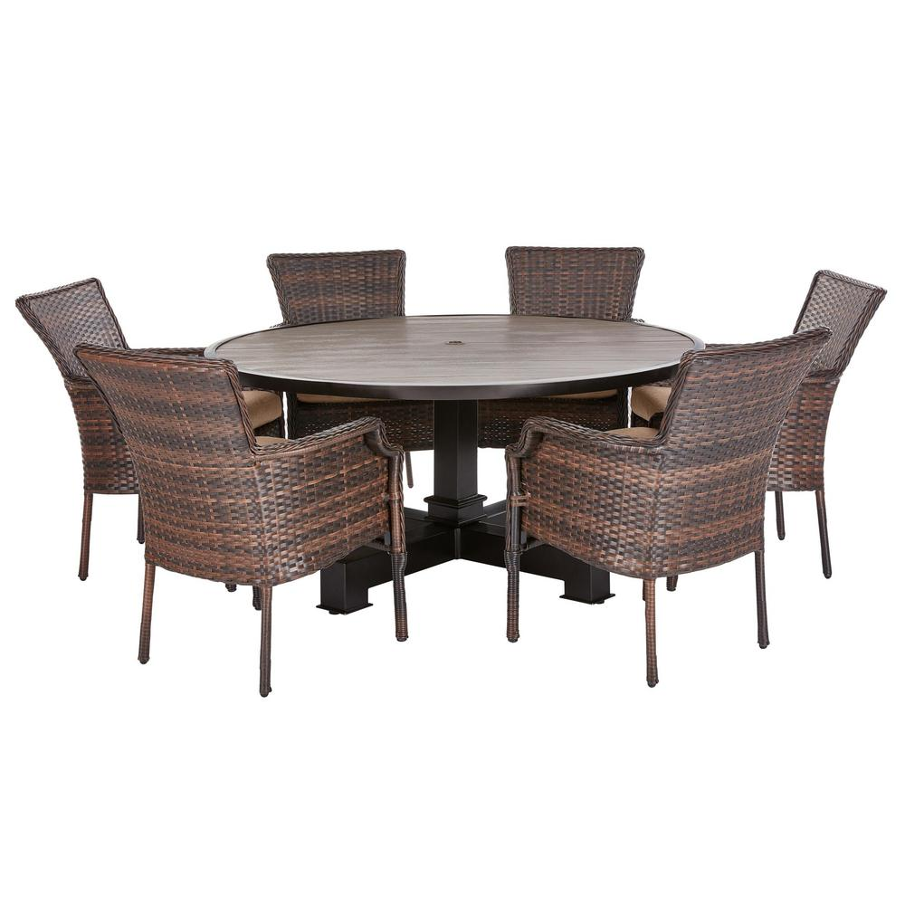 Outdoor Dining Set Round Table.Hampton Bay Grayson Brown 7 Piece Wicker Round Outdoor Dining Set With Olefin Toffee Cushions
