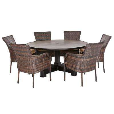 Groovy Grayson Brown 7 Piece Wicker Round Outdoor Dining Set With Olefin Toffee Cushions Home Interior And Landscaping Fragforummapetitesourisinfo