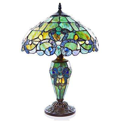 20 in. H Green Stained Glass Table Lamp with Double Lit Magna Carta Shade