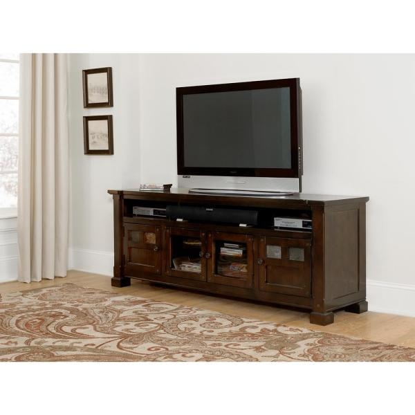 Telluride 74 in. Mesa Brown Wood TV Stand Fits TVs Up to 80 in. with Storage Doors