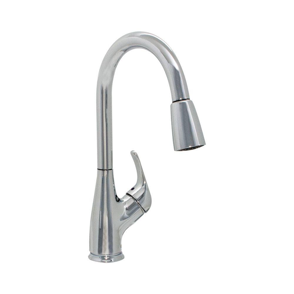 EZ FLO Single Handle Pull Down Sprayer Kitchen Faucet In Chrome