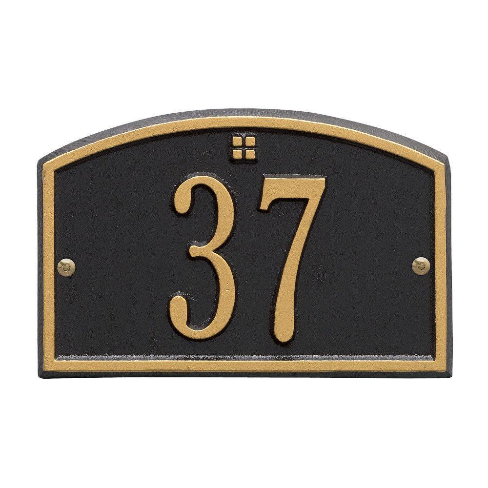 Cape Charles Rectangular Black/Gold Petite Wall 1-Line Address Plaque