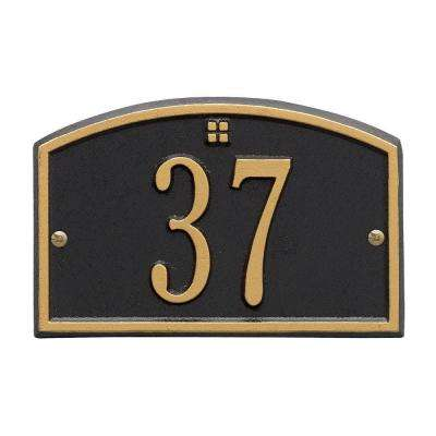 Cape Charles Rectangular Black/Gold Petite Wall 1-Line Address Plaque