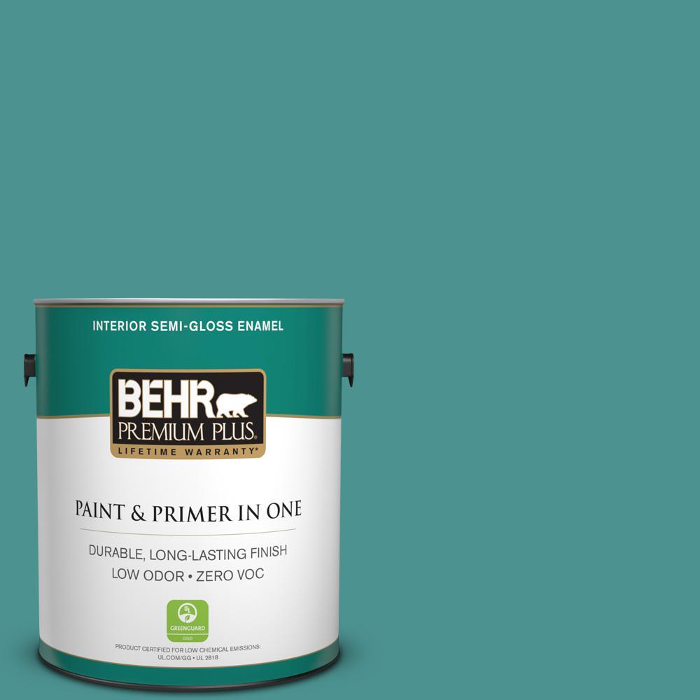 BEHR Premium Plus 1-gal. #500D-6 Mirage Lake Zero VOC Semi-Gloss Enamel Interior Paint