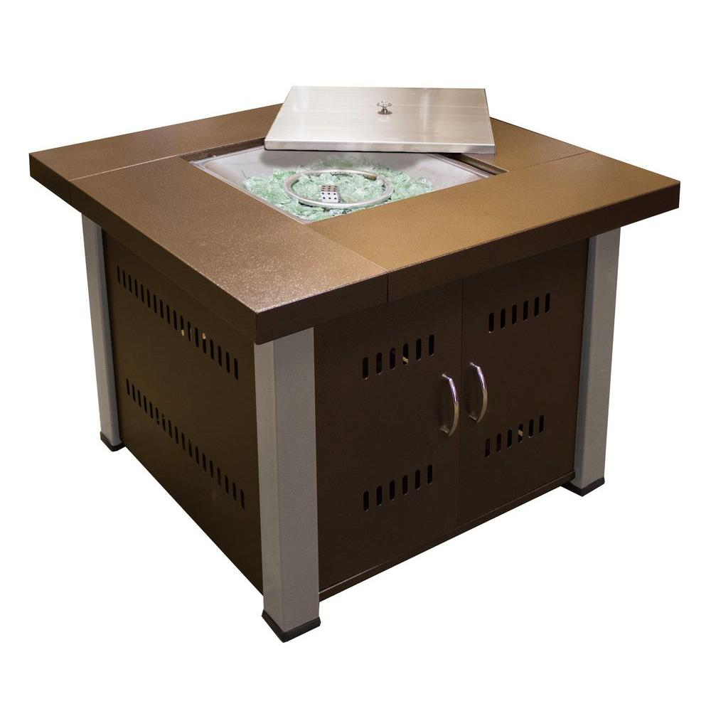 38 in. Steel Propane Firepit with Antique Bronze/Stainless Steel Finish