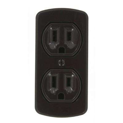 15 Amp Grounding Double Surface Mount Outlet, Brown