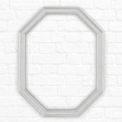 26 in. x 34 in. (M2) Octagonal Mirror Frame in Chrome and Linen