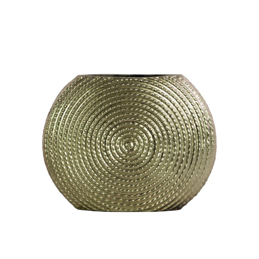 Champagne Metallic Finish Metal Decorative Vase