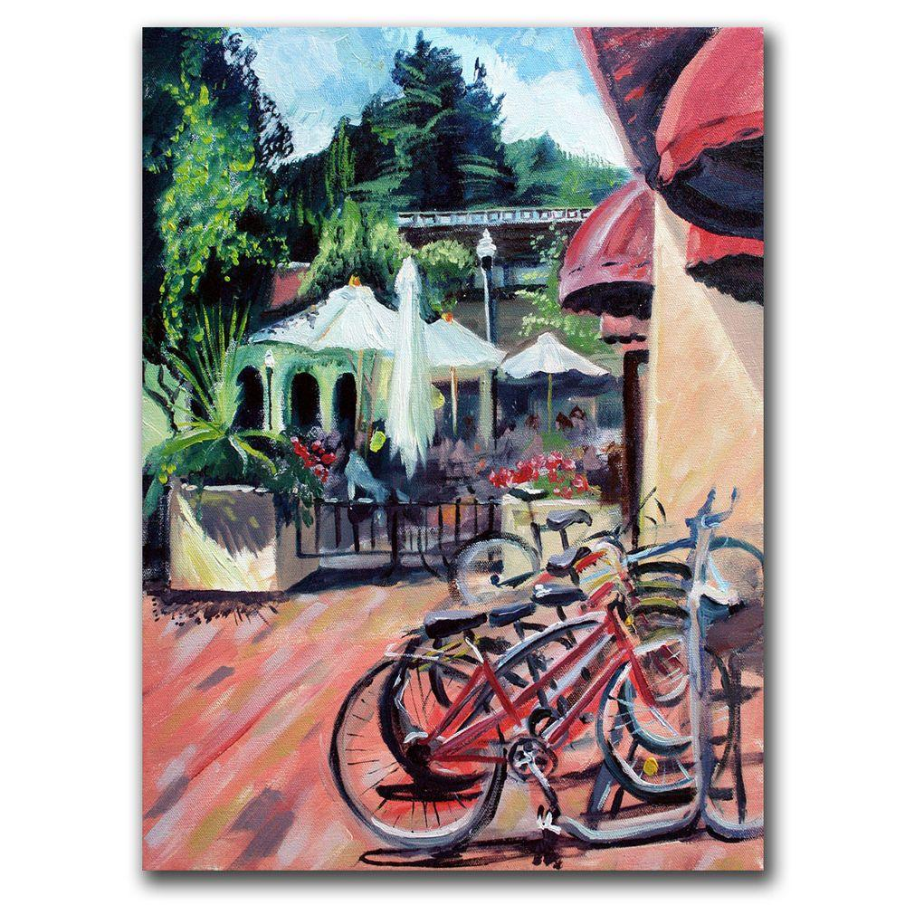 "Trademark Fine Art 35 in. x 47 in. ""Bikers in Town"" Canvas Art"