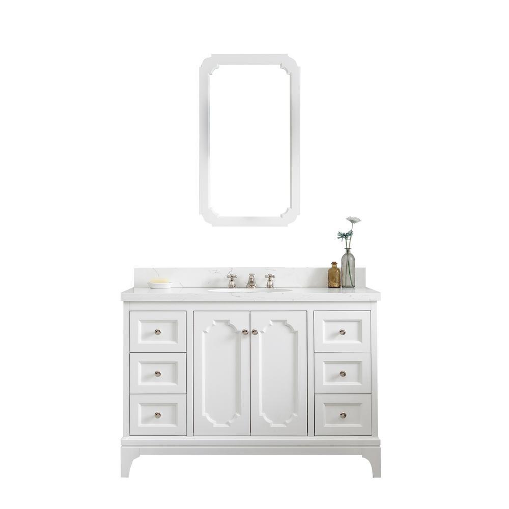Queen 48 in. Pure White With Quartz Carrara Vanity Top With Ceramics White Basins