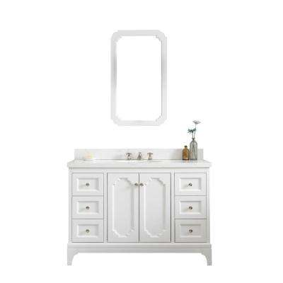Queen 48 in. Pure White With Quartz Carrara Vanity Top With Ceramics White Basins and Mirror