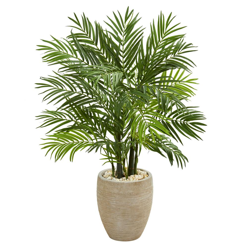 Indoor 4 ft. Areca Palm Artificial Tree in Sand Colored Planter