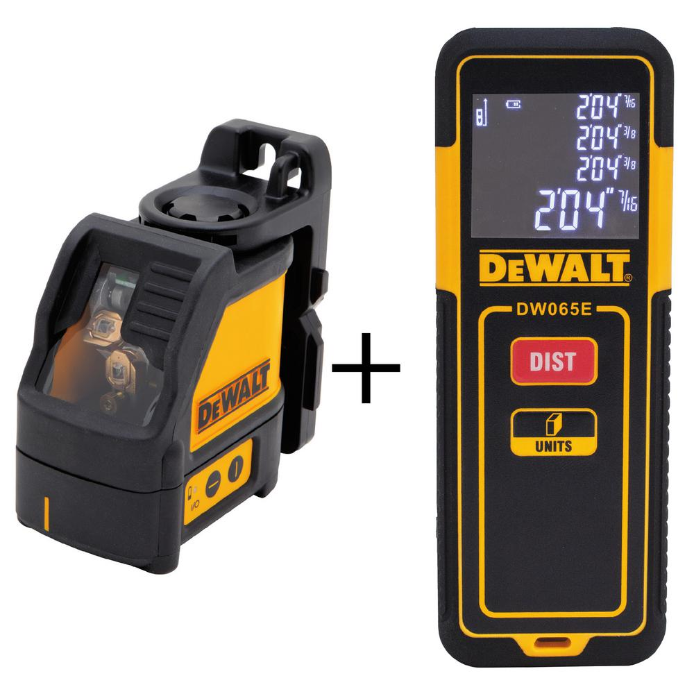 Cross Line Laser Level with Bonus 65 ft. Laser Distance Measurer