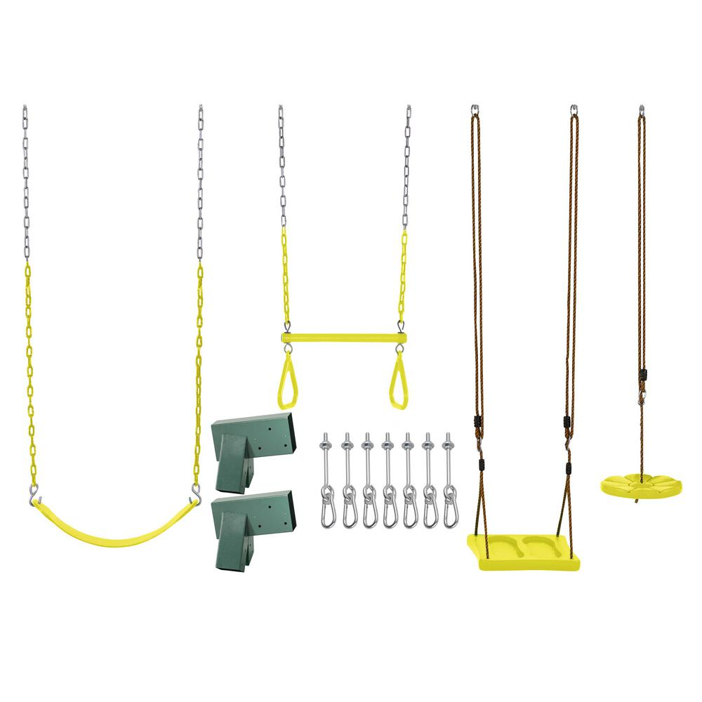 Swingan Swing Set Kit With Belt Swing Trapeze Bar Disc Swing And
