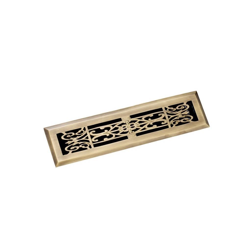 2.25 in. x 12 in. Decorative Floor Register, Antique Brass