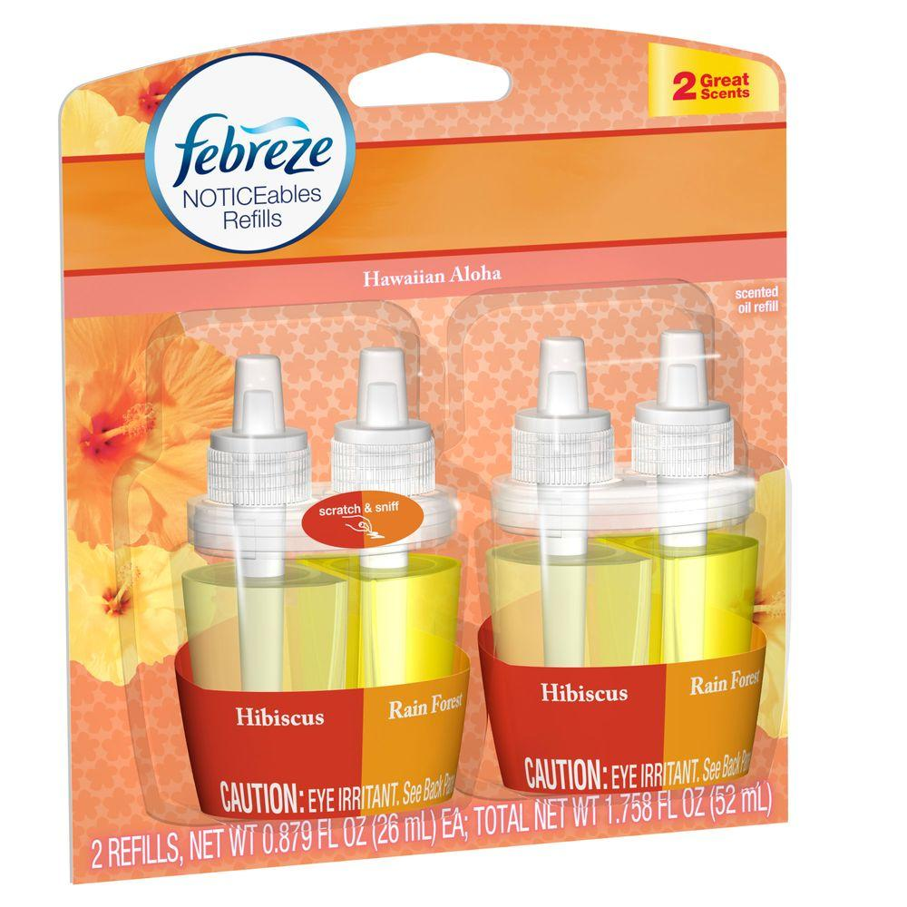 Febreze Noticeables 0.879 oz. Hawaiian Aloha Dual Scented Oil Refill (2-Pack)