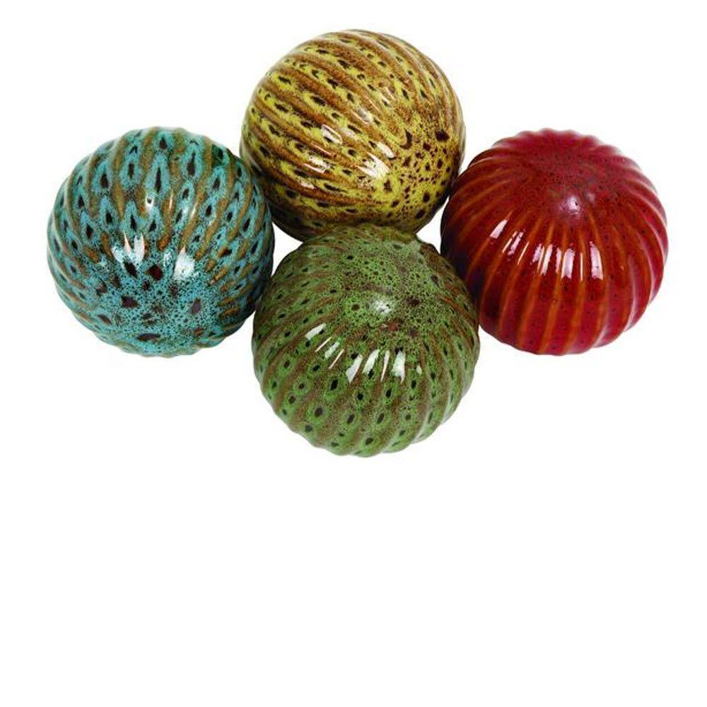 4 in. H x 4 in. W Multi Ceramic Calean Decorative Ball (Set of 4)