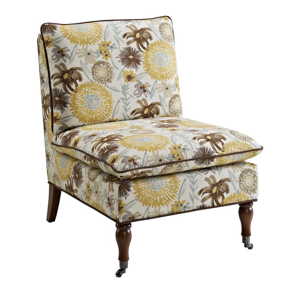 Sara Floral Pillow Top Slipper Chair