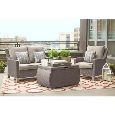 Broadview Patio Loveseat with Sunbrella Spectrum Dove Cushions
