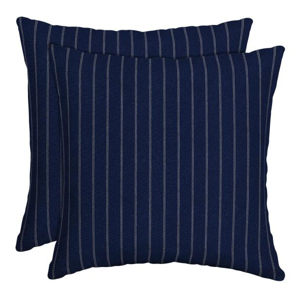 16 in. x 16 in. Navy Woven Stripe Outdoor Throw Pillow (2-Pack)