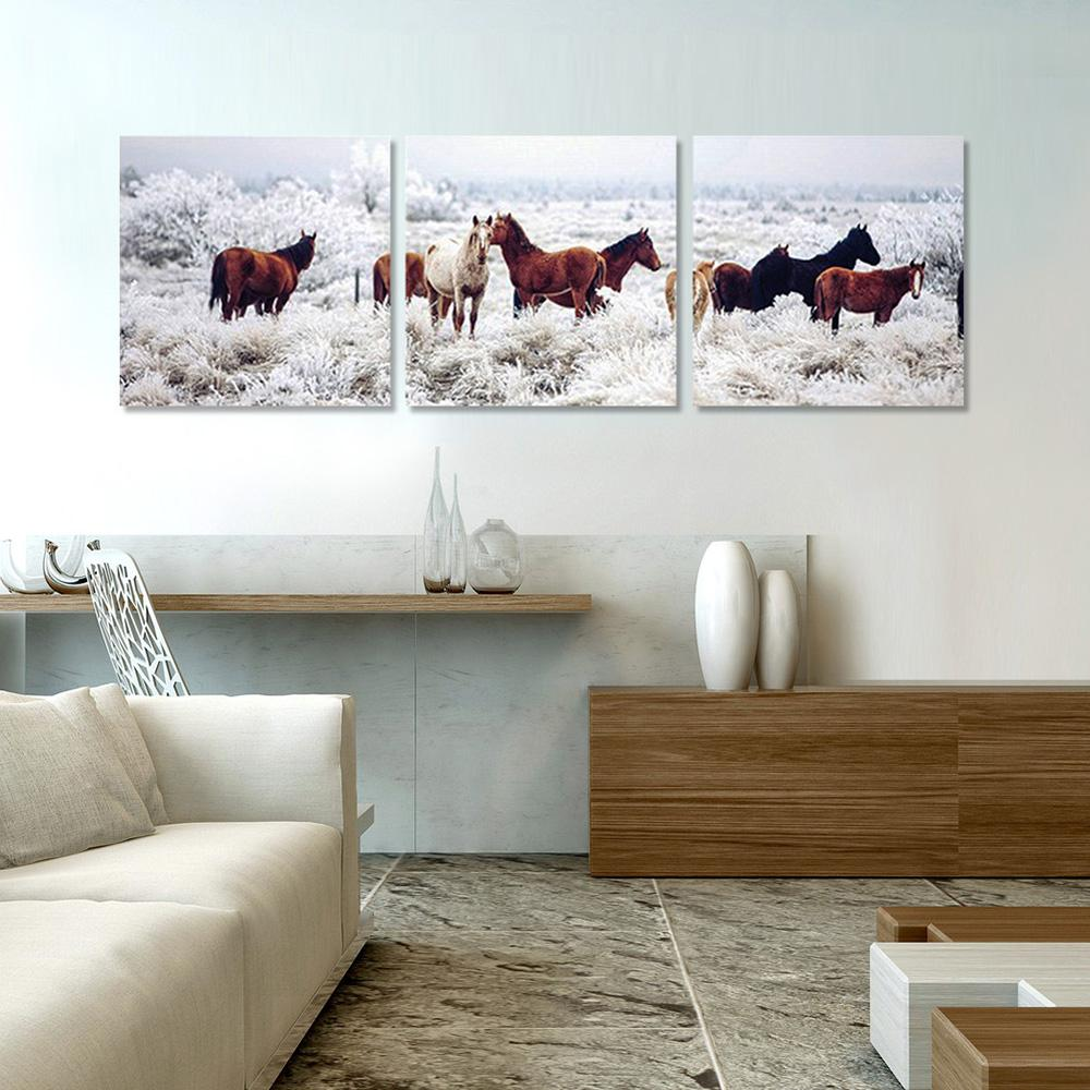 Wall decoration sb : Furinno in quot horses on plains printed wall