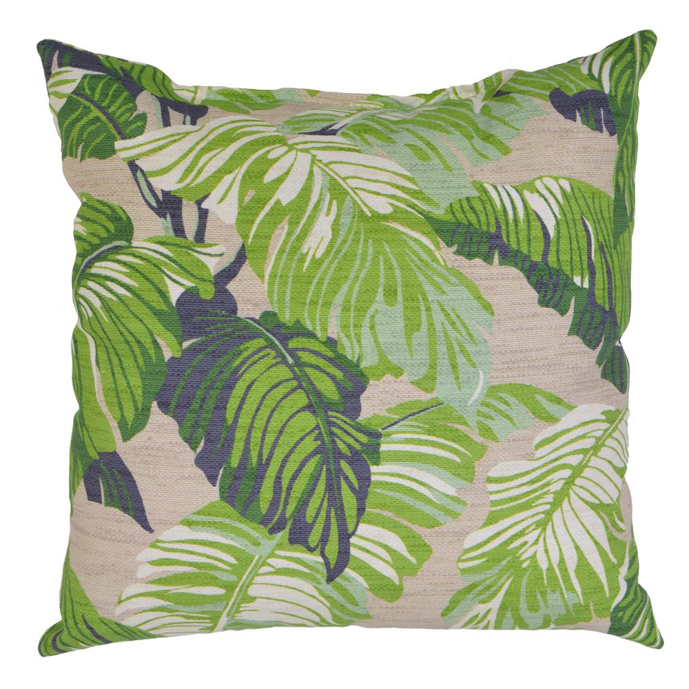 Hampton Bay Fern Tropical Square Outdoor Throw Pillow