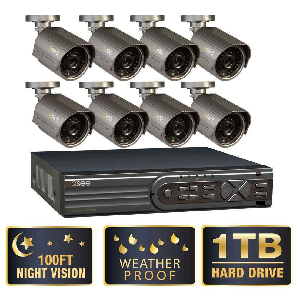 Q-SEE Advanced Series 16-Channel CIF/ D1 1TB DVR (8) 700 TVL High-Res Indoor/Outdoor 100 ft. Night Vision Cameras-DISCONTINUED